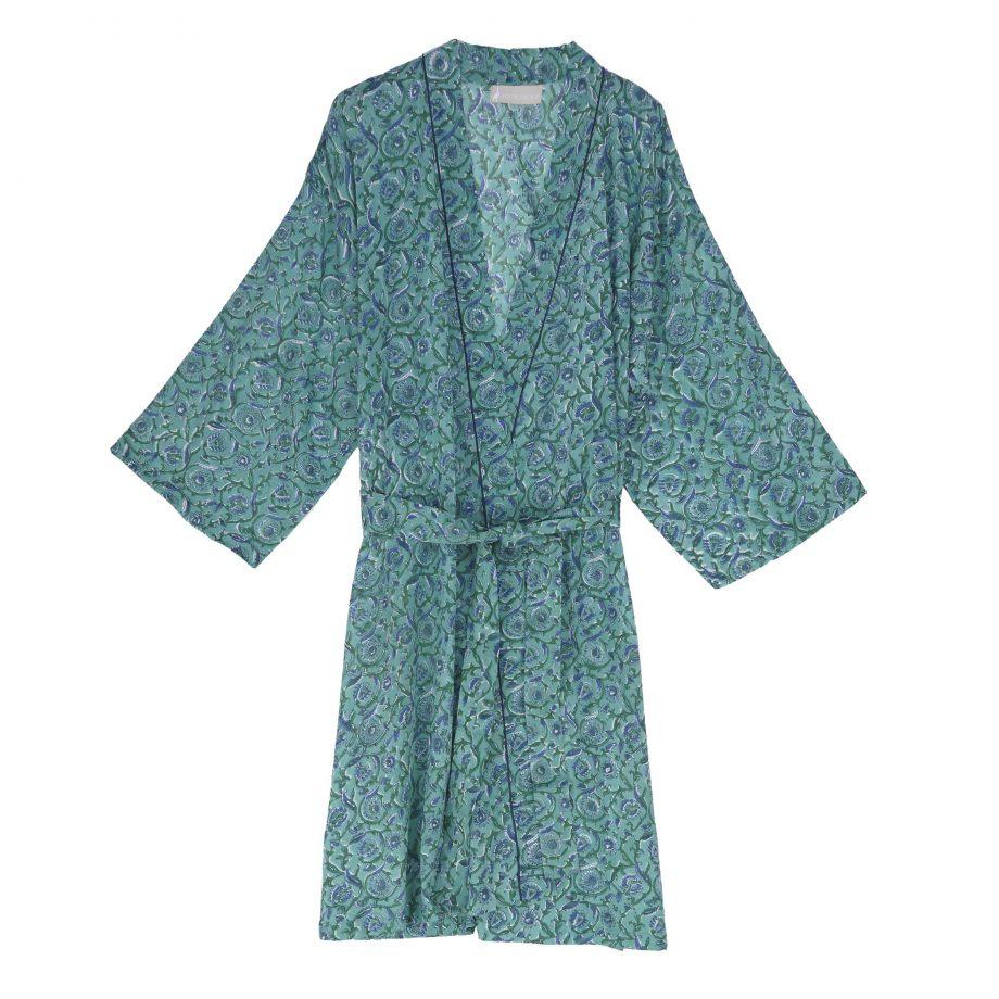 Kimono de algodón con estampado de flores verdes y azul