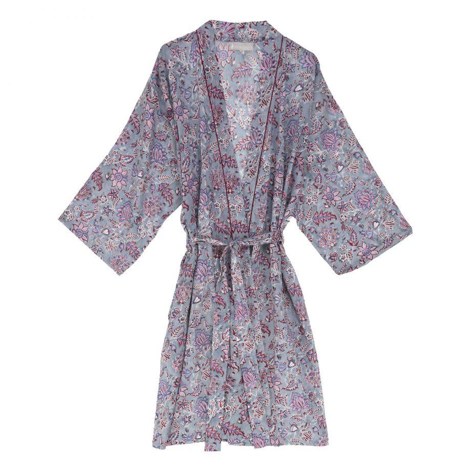 Bata kimono india gris en algodón con estampado de flores