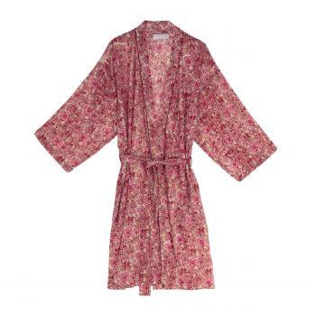 Bata Kimono con estampado de flores en tonos rojos