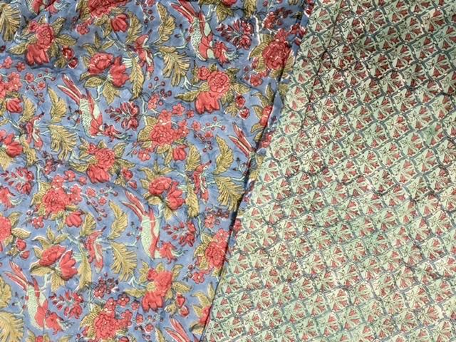 Colcha india flores y pajaros azul ABRACOLORS