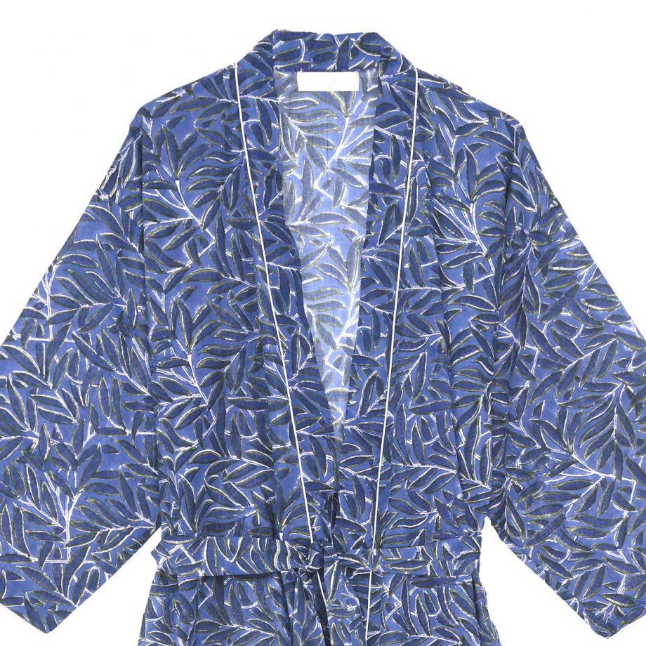 Kimono azul hojas
