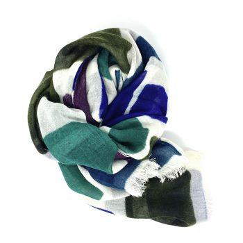 Fular de lana cuadros verdes