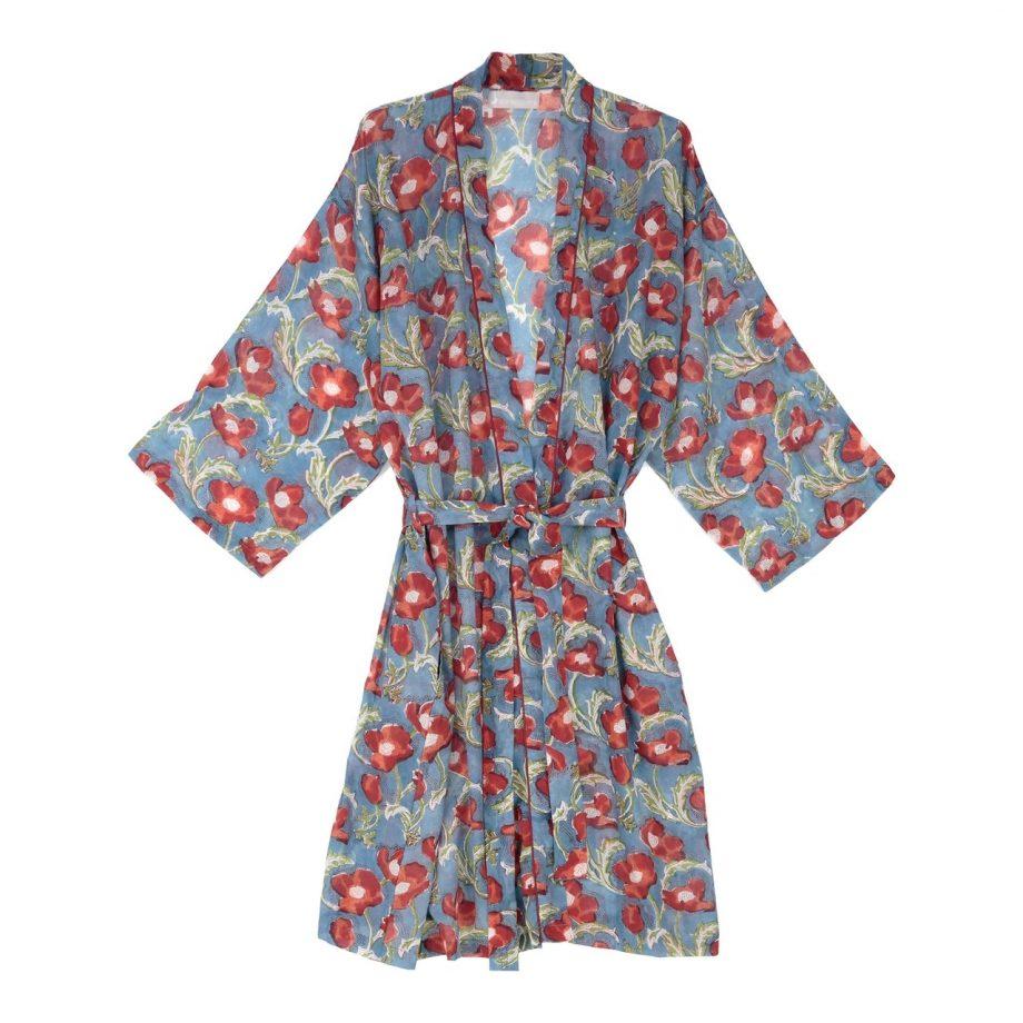 Kimono azul flor roja ABRACOLORS