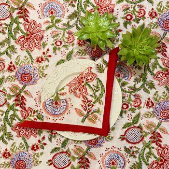 Mantel de algodón con estampado de flores