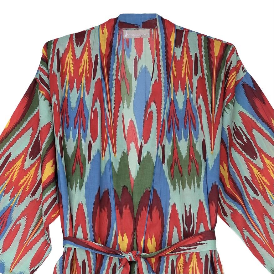 Kimono ikat turquesa