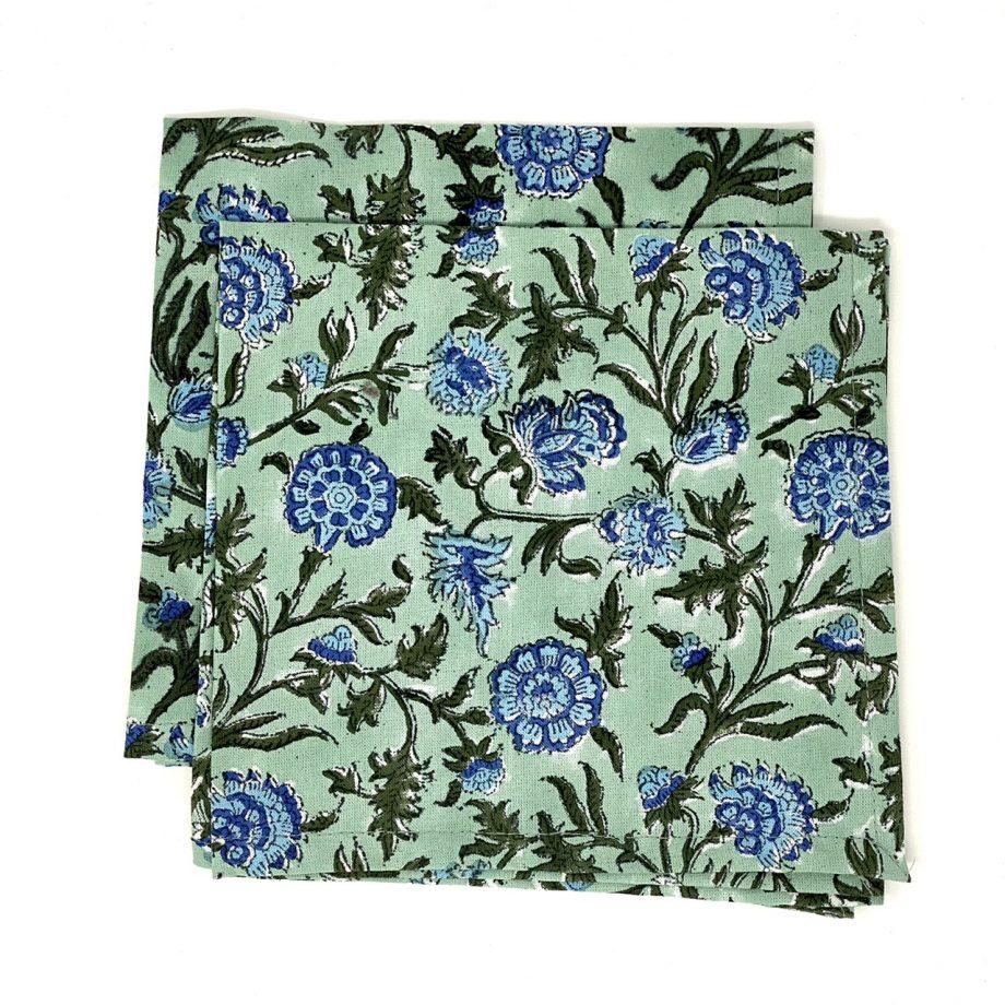Servilletas verdes florecitas